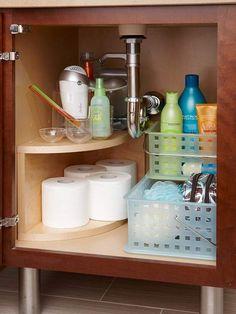 Bathroom Under Sink Storage. 20 Bathroom Under Sink Storage. 15 Ways to organize Under the Bathroom Sink Bathroom Sink Organization, Under Sink Organization, Under Sink Storage, Sink Organizer, Hidden Storage, Organization Hacks, Storage Rack, Laundry Storage, Storage Bins