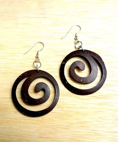 This Brown Wood Swirl Drop Earrings by Soothi is perfect! #zulilyfinds