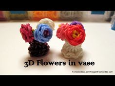 Rainbow Loom 3D MINI FLOWERS in Vase charm. Designed and loomed by Elegant Fashion 360. Click photo for YouTube tutorial. 05/04/14.