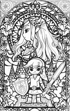 awesome stained glass Zelda coloring page!  Gonna try this in watercolors later