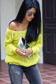 Off the shoulder bright knit sweater & laid back jeans