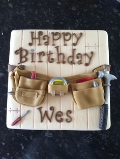 Birthday cake for a carpenter by www.cupboardlovecakes.com