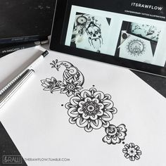 Mehndi inspired peacock with mandala flowers / would look really solid on forearm, ribs or thigh Basic design, available on Skinque