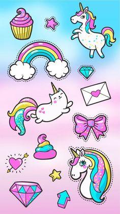 Cute Wallpaper Iphone Home Screen Kawaii Unicorn Unicorn Art, Cute Unicorn, Rainbow Unicorn, Unicorn Horse, Kawaii Drawings, Cute Drawings, Unicorn Wallpaper Cute, Unicornios Wallpaper, Cupcakes Wallpaper