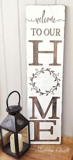 Welcome to our Home Porch Sign Welcome family and friends this spring/summer to your home with this beautiful porch sign! This Welcome to our Home porch sign is made from pine, stained dark walnut, .
