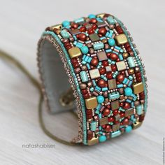 Браслет вышитый бисером на шнуровке, широкий, этнический, голубой - браслет из бисера