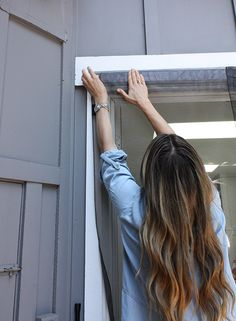 I came up with the perfect solution using VELCRO® Brand Industrial Strength Tape so my screen lays flat, stays perfectly secure and can still be removed! Diy Screen Door, Mesh Screen, Diy Lock, Mobile Home Redo, French Doors With Screens, Mobile Home Exteriors, Balcony Doors, Bamboo Shades, Garden Landscape Design