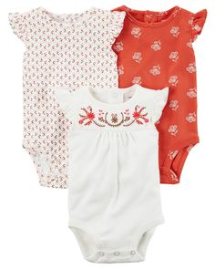 The perfect starters to any little outfit, these quick change bodysuits feature back button plackets and flutter sleeves.
