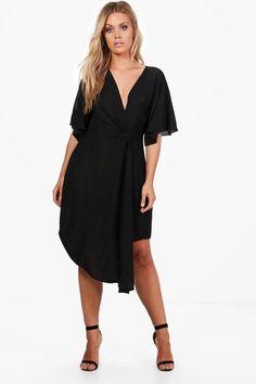 Plus Sarah Wrap Woven Occasion Dress   Boohoo