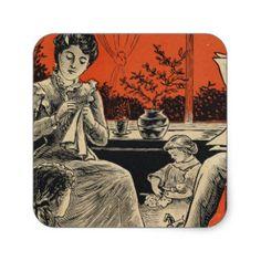 Traditional Family Life Vintage Retro Orange Black Square Sticker