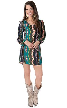 Karlie® Women's Teal, Pink, Navy and Grey Aztec Print Long Sleeve Dress