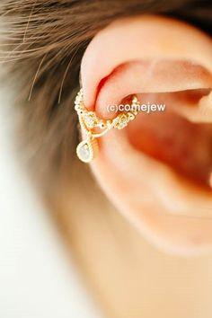 water drop cubic ear cuff,earcuff earring,cute earcuff,ear cuff,cartilage earring,bridesmaid gift,Non Pierced,Single Earring,Ear Wrap,SRN165