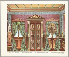 Room background for a toy theater c 1891 by J F Schreiber