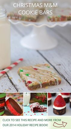 Christmas M&M Cookie Bars by @iheartnaptime, Chocolate sandwich cookies by @fakeginger, and other holiday recipes from influencers on Pinterest!