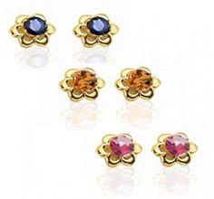 Bling Jewelry 14k Gold July Birthstone Red CZ Children Baby Flower Stud Earrings