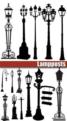 Street Light Design, Old Lamps, Street Lamp, Silhouette, Pyrography, Wrought Iron, Metal Art, Clip Art, Architecture