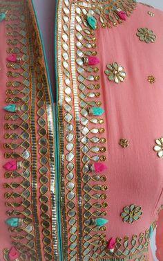 Peach Gota Patti Anarkali Suit Set includes Anarkali floor length Kurta and Organza Dupatta Description: Fine Gota patti handwor Churidar Designs, Kurta Designs Women, Kurti Neck Designs, Dress Neck Designs, Kurti Designs Party Wear, Blouse Designs, Embroidery Suits Punjabi, Embroidery On Kurtis, Hand Embroidery Dress