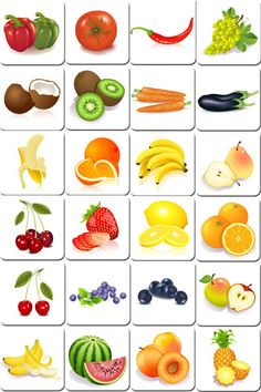 Free printable memory game with cards of fruits and vegetables. Simply print and cut it to make an original memory game homemade to play with family or friends Free Printable Flash Cards, Free Printables, Food Flashcards, Game Fruit, Vegetable Pictures, Fruits And Vegetables Pictures, Vegetable Prints, Fruits For Kids, Fruit Picture