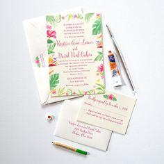 Custom watercolor tropical floral and greenery wedding invitations by artist Michelle Mospens. 100% original art. | Mospens Studio