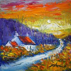 Sunset, Dunrostan, Knapdale by Jolomo - John Lowrie Morrison Landscape Art, Landscape Paintings, Watercolor Paintings, Great Paintings, Small Paintings, Art Is Dead, Pallet Painting, Knife Painting, Southwestern Art