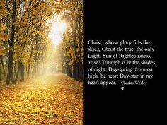 Christ, whose glory fills the skies, Christ the true, the only Light, Sun of Righteousness, arise! Triumph o'er the shades of night: Day-spring from on high, be near; Day-star in my heart appear. ~ Charles Wesley