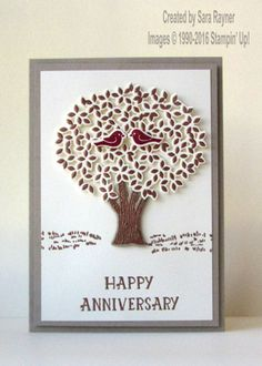 Thoughtful Branches anniversary card using supplies from Stampin' Up! www.craftingandstamping.com #stampinup