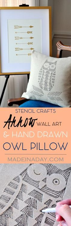 Stencil Crafts! Hand Drawn Owl Pillow & Arrow Wall Art. Easy Home decor DIY's! Fabric markers, Cutting Edge Stencils, Tutorial on…