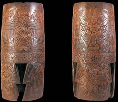 (Reconstruction of ancient Huehuetl) -In central Mexico, it was very common, starting in the early colonial period, to have musical accompaniment for plays.  A huehuetl is a cylindrical drum generally three-feet-high.