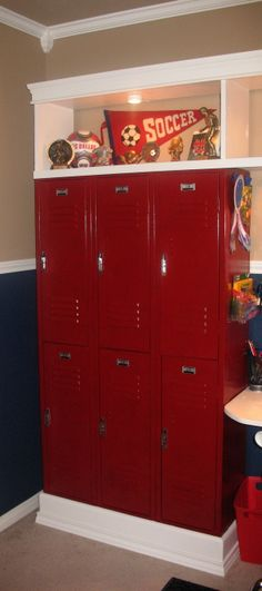 All Sport Room, This is my 7 year olds room. Since he has two sisters he really wanted an all boy room! I rescued these lockers from a schoo...