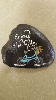 Bicycle painted rock
