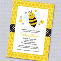 Bee Baby Shower Invi