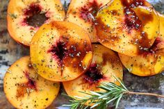 Rosemary Balsamic Grilled Summerflame Yellow Peaches #summerfest #peaches