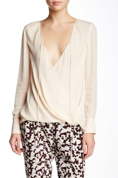 DEREK LAM 10 CROSBY - Drape Front Silk Blouse at Nordstrom Rack. Free Shipping on orders over $100.