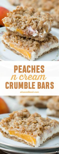 These peaches n cream crumble bars are the best dessert I've ever had with peaches. That creamy filling and brown sugar oat topping! Dutch Peach Pie Recipe, Peach Pie Recipes, Desserts To Make, Sweet Desserts, Peach Crumble Bars, Baking Recipes, Dessert Recipes, Cookie Recipes, Baked Peach