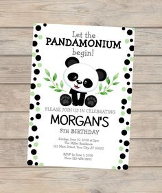 Panda Baby Shower Invitation For Baby Girl, Panda Bear Baby Shower Invitation, Panda Polka Dots Invitation, Panda Girl Baby Shower Invite Panda Birthday Party, Panda Party, 10th Birthday, Birthday Ideas, Birthday Parties, Baby Shower Invitations For Boys, Birthday Party Invitations, Panda Baby Showers, Panda Bebe