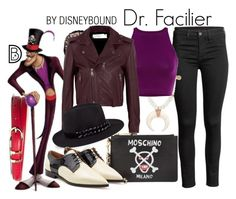 """Dr. Facilier"" by leslieakay ❤ liked on Polyvore featuring Brooks Brothers, Jacquie Aiche, Victoria, Victoria Beckham, Karl Lagerfeld, Moschino, RED Valentino, disney, disneybound and disneycharacter"
