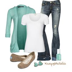 White t-shirt + jeans + pop of color = my kind of outfit