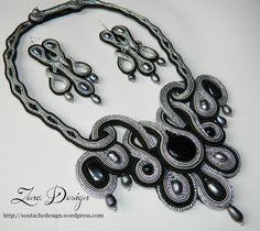 """New! Colier şi cercei soutache """"Black and Grey""""   Zena Design"""