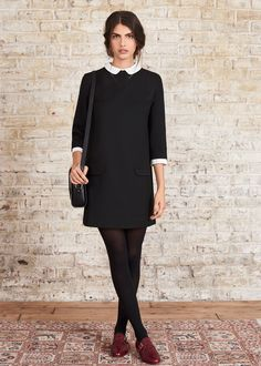 sézane indie dress in black with white silk collar and cuffs Style Casual, Preppy Style, My Style, Mode Bcbg, Derby Outfits, Fashion Tights, Women's Fashion, Mode Top, Kinds Of Clothes