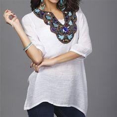 Elegant Embroidery Blouses Sexy Beading V Neck 3 4 Sleeve Camisas De Linho 7fb42c6a11355