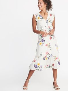 e7a3b099a0d Women s Floral Print Square Neck Strappy Button Front Midi Dress ...