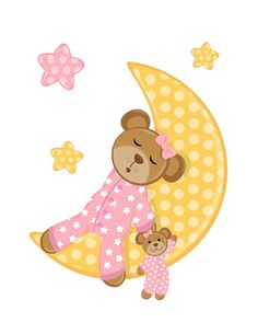 Sleepy Teddy Bear Wall Mural Decal for baby girl nursery. While the twinkling stars surround her, dreamy little bear sleep soundly on the moon while holding her teddy doll. This bear is absolutely adorable with her cute pink polka dot pajamas #decampstudios