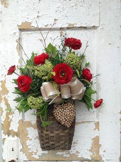 Valentine Wall Basket Valentine's Wreath by FlowerPowerOhio