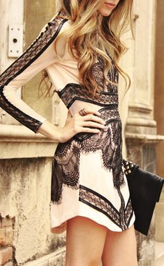 blush + black lace dress