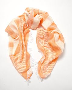 Hand-made in Ethiopia: Azola presents the Bahar Scarf in Apricot  Hand-made by artisanal weavers in Ethiopia using the finest cotton, silk and