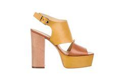 yellow/brown leather sandal - fiorifrancesi