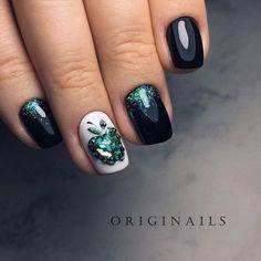 Black Manicure with Emerald Green Granny Apple