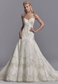 A-line Wedding Dresses : Picture Description Embroidered lace motifs and Swarovski crystals dance over this tulle and Soft Shimmer Satin A-line wedding A Line Bridal Gowns, Bridal Dresses, Wedding Gowns, Bridesmaid Dresses, Bridal Gown Styles, Dresses Uk, Long Dresses, Lace Wedding, Perfect Wedding Dress