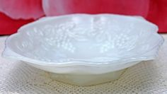 Bowl. Milk Glass Square Bowl with Embossed Grapes and Vines. Footed Serving Dish with Golden Rim. Collectible Bowl. by AnythingDiscovered on Etsy
