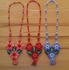 Items similar to Huichol Beaded Chaquira Necklaces - 3 Flowers - Romea Accessories - Jewelry - Huichol Art - Handmade on Etsy Beaded Necklace Patterns, Beaded Choker, Beaded Earrings, Beaded Bracelets, Bead Embroidery Jewelry, Fabric Jewelry, Beaded Embroidery, Seed Bead Jewelry, Bead Jewellery